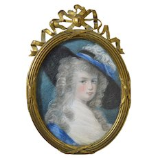 Antique 18th Century Miniature Portrait of Woman French Bronze Frame