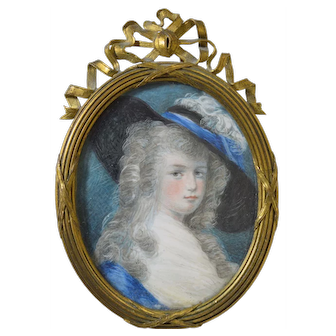 Antique 18th Century Miniature Portrait of Woman French Bronze Frame