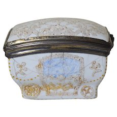 Antique c1740 French Enamel Snuff Box Figural Carriage w/Silver Mounts 18th Century