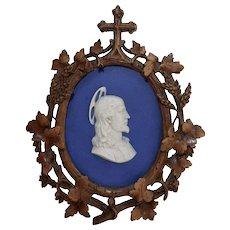 Rare Antique Wedgwood Christ Plaque Jasperware Dark Blue & White Medallion w/Carved Frame