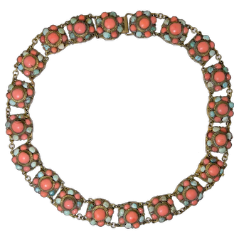 Vintage Asian Ethnic Genuine Coral & Turquoise Necklace in Gilt Brass