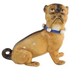 "Antique German Porcelain Pug Figurine Large w/Bell Collar 7"" x 7 3/4"""
