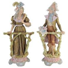 Antique Royal Dux Porcelain Figurines Man & Woman at Fence Excellent!