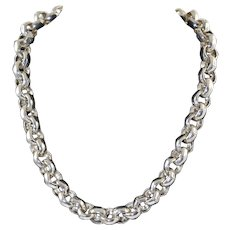 "John Hardy 18"" Bamboo Rolo Sterling Silver Necklace 90.9 grams Excellent"