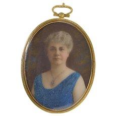 Vintage Miniature Portrait on Milk Glass Elegant Lady Beautiful Frame