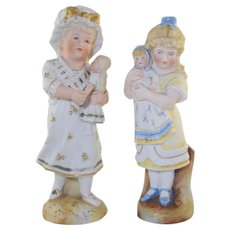 2 Antique German Bisque Little Girls w/Dolls Figurines Victorian
