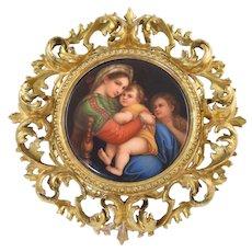 Antique Madonna of the Chair Raphael Firenze Porcelain Plaque in Florentine Gilt Frame