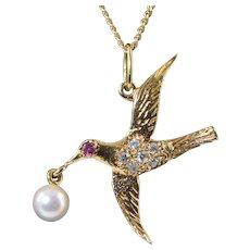 """Vintage 14K Swallow Bird Pendant w/Ruby Eye Diamonds & Pearl JWD on a 14K 16"""" Chain"""