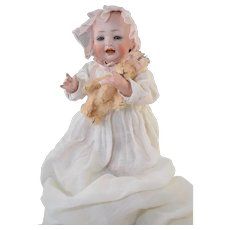 "Adorable! Solid Dome 12"" Hertel Schwab 151 Bisque Character Baby Wonderful!"