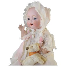 """Sweet Solid Dome 12"""" Morimura 3 Bisque Character Baby w/Antique Silk Christening Gown"""