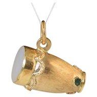 Vintage 14k Gold Bongo Drum Charm Italian Etruscan w/MOP & Enamel