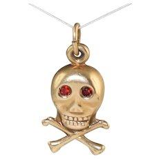 Vintage 14k Gold Skull & Cross Bones Charm w/Garnet Stone Eyes!