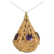 Vintage 18K Italian Etruscan Charm Jeweled Amethyst Heavy 15.8g