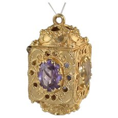 Vintage 14K Italian Etruscan Charm Vinaigrette Jeweled Amethyst & Citrine 14.1g