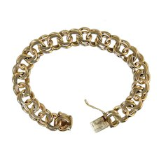 Vintage 14k Gold Charm Bracelet Heavy 33.8g