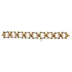 Vintage 18K Italian Gold Wide Link Bracelet Retro Charm