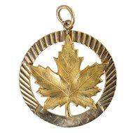 Vintage 10K Canadian Maple Leaf Charm Birks Large 7.6g