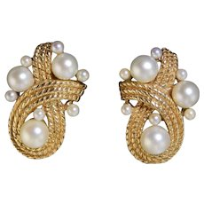 Vintage Large 14k Gold & Cultured Pearl Clip Earrings 15.5g