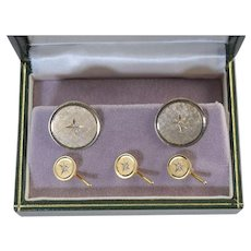 Vintage 14k Gold & Diamond Cufflink & Stud Set 19.1g