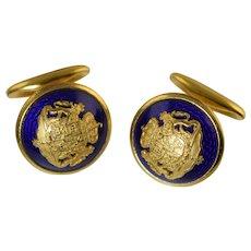 Vintage Sporrong & Co Swedish Enamel & Gold Plated Cufflinks