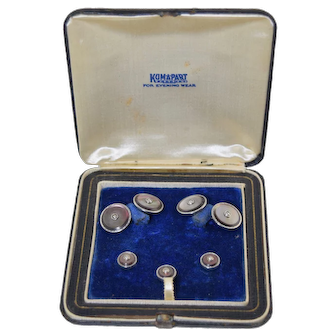 Art Deco Kum-A-Part Gold Plate Cufflink & Stud Boxed Set MOP & Pearls