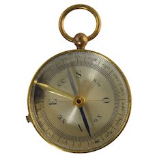 Vintage French Brass Locking Pocket Compass Field Travel