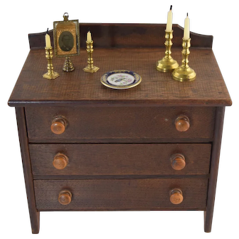 Antique Miniature Doll Size Walnut Chest of Drawers w/Miniatures