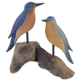 C.W. Waterfield Signed Pair of Eastern Bluebirds Carved Wood Birds on Driftwood