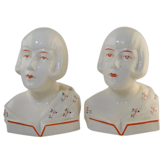 Rare Vintage Germany Art Deco Pottery Lady Flapper Head Bookends German 1930s