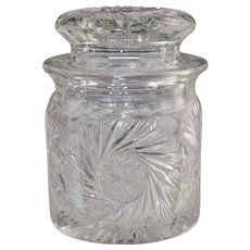 Antique ABP Cut Glass Biscuit Jar Barrel Hobstar Buzzstar c1900