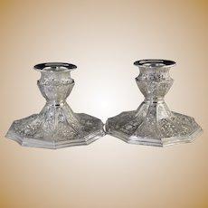 Vintage Barbour Silver-plate Short Fat Candlesticks w/Cherub Heads & Shells