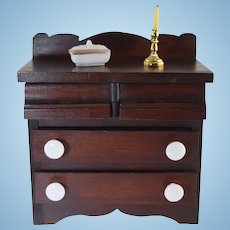 Antique Miniature Doll Chest of Drawers Walnut w/Porcelain Knobs
