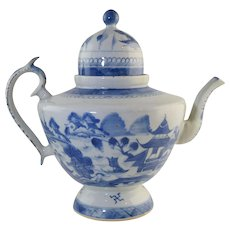 Antique Chinese Export Canton Teapot w/Dome Lid Early Blue & White Porcelain