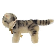 Vintage Steiff Tabby Cat US Zone Germany w/Bell & Paper Tag