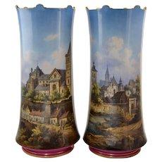 "Pair KPM Topographical Hand Painted Porcelain Vases 13 1/4"" German Town Scenes"