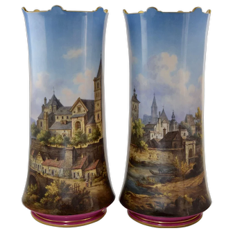 "Pair KPM Topographical Hand Painted Porcelain Vases 13 1/4"" German Town Scenes"