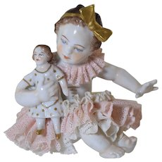 Vintage German Dresden Lace Girl with Doll Figurine Porcelain