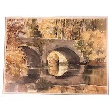 "Tom Nisbet (1909-2001) Irish Original Watercolor ""Bridge at Straffan"" Kildare"