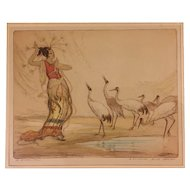 Robert Herdman-Smith (1875-1945) The Enchantress Colored Etching Asian Woman LE