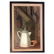 Vintage Trompe L'Oeil Painting Barn Wood Enamel Coffee Pot Stoneware Iron Handle