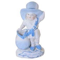 """Now I'm Grand Papa"" German Porcelain Child Match Toothpick Holder"