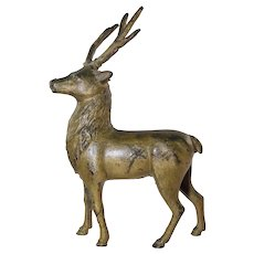 "Antique AC Williams Deer Still Bank Cast Iron w/Old Gold Paint 9"" Tall"