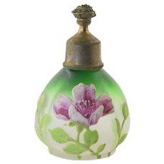 Antique Green Satin Enamel Glass Perfume Sprinkler Bottle