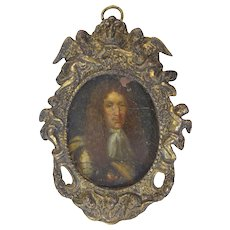 English 17th Century Oil on Copper Miniature Portrait c1660