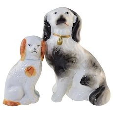 2 Antique Staffordshire King Charles Spaniel Dogs Figurines