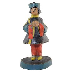 Vintage Oriental Girl Cast Iron Doorstop Excellent original paint