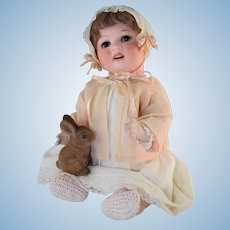 """Antique 17"""" Heubach Koppelsdorf #300-4 Bisque Compo Character Baby Doll"""