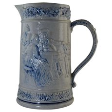 Whites of Utica Blue & White Salt Glazed Stoneware Pitcher with Tavern Scenes