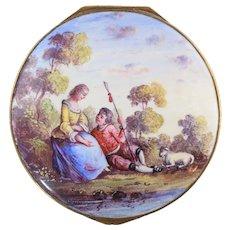 18th Century Bilston Enamel Table Snuff Box w/Hand Painted Scene & Flowers Excellent!
