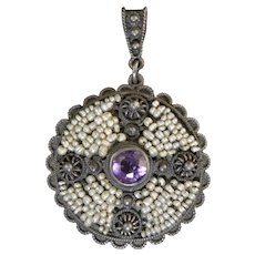 Antique Sterling Silver Amethyst & Seed Pearl Filigree Cross Pendant